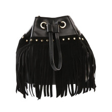 Diane Von Furstenberg Disco Dstring Leather Fringe - Black [H2317052A15]