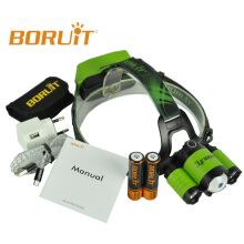 BORUIT RJ-5000 Plus B22 Rechargeable Zoom XM-L2+2X XPE LED Hunting Headlamp Micro USB Headlight Torch 18650 PCB Batteries Green