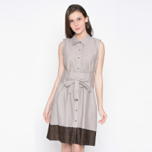 A&D Ladies Dress With Belt Ms 1003 - Light Brown