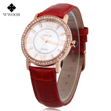 WWOOR 8807 Female Quartz Watch Luminous Artificial Diamonds Water Resistance Wristwatch