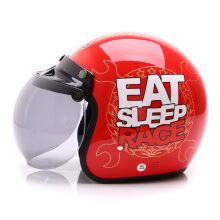 WTO Helmet Retro Eat Sleep Race - Red