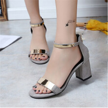 BESSKY Summer Sandals Open Toe Women Sandles Thick Heel Shoes Gladiator Shoes -