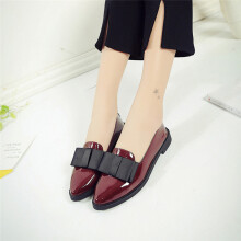 BESSKY Women Pointed Toe Oxford Shoes Casual Comfortable Slip Flat Shoes_