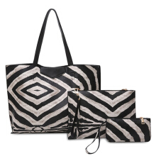 3 Pieces Zebra Striped Shoulder Bag Set