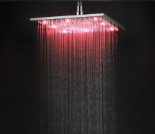 LANGFAN  Temperature Sensor Brass LED Rainfall Shower T-5106 12 Inch