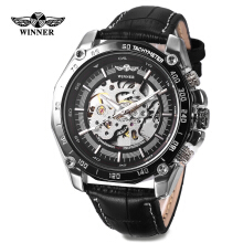 Winner 427 Male Auto Mechanical Watch Luminous Leather Band Wristwatch for Men