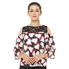 Blanik Darcy Cut Out Sleeve Blouse Print Black