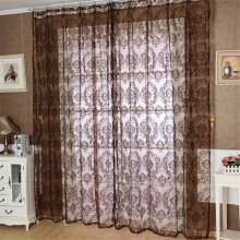 BESSKY European Classical Style Tulle Window Screens Balcony Curtain Panel_ Coffee