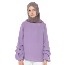 HAZELNUT Brigitte Blouse Long Gather Sleeves Lilac [One Size]
