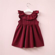BESSKY Toddler Infant Kids Baby Girl Ruffled Dress Clothes Backless Solid Casual Dress_
