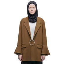 HATTACO  BY RANI HATTA O-Ring Blazer Bell Sleeve - Brown