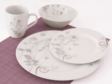 NAKAMI Dinner Set Silver Rose MH 2825 - 16 PCS