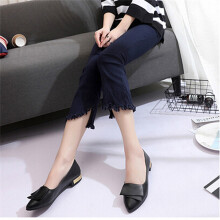 BESSKY Office Women Shallow Fish Mouth Low Heel Shoes Pointed Single Shoes_