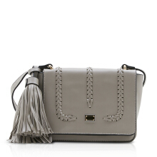 NEW COLLECTION Rectangular crossbody bag with tassle and braided - Grey