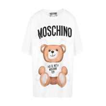 MOSCHINO This Is Not A Toy - Jeremy Scott Teddy Bear Oversize T-Shirt  White XS [D A0706]