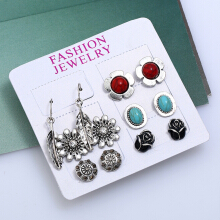 6 Paired Leaf Flowers Multiple Shapes Earring Drops Studs