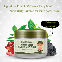 BIOAQUA Carbonated Bubble Clay Mask Pigskin Collagen Shrink Pore Moisturizing Acne Blackhead Treatment Masks