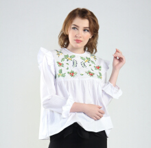 Rianty Basic Atasan Wanita Blouse Naya - White White All Size