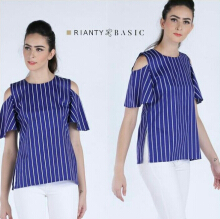 Rianty Basic Atasan Wanita Blouse Naira - Blue Blue All Size