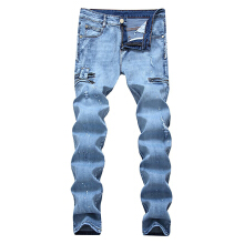 Mens Ripped Jeans Black Slim Fit Motorcycle Jeans Men Vintage Distressed Denim Jeans Pants