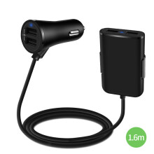 KYM CH01 36W/7.2A 4 Port Universal Quick Car Charger for iPad for iPhone 7 Tablet for Backseat Passenger 1.6m Cable car charger Black