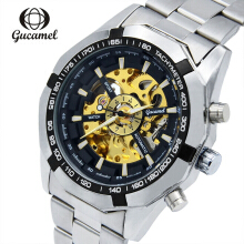Gucamel G043 Men Auto Mechanical Watch Stainless Steel Band Hollow Dial Luminous Wristwatch