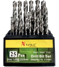 NANKAI Mata Bor HSS Set 25 Pcs - 1mm - 13 mm