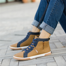 BESSKY Men Zipper Shoes Fashion High Top Men's Casual Shoes Man Lace-up Shoes _