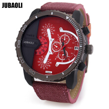 JUBAOLI A1088 Men Quartz Watch Calendar Water Resistance Decorative Sub-dial Canvas Strap Wristwatch