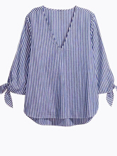 ZANZEA Women V-neck Long Sleeve Shirt - Blue