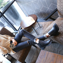 BESSKY New Womens Winter Ankle Boots Low Heels Fashion Boots Autumn Winter Boots Shoes-