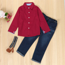 BESSKY 1Set Kids Toddler Boys Handsome Red Shirt+Braces Trousers Clothes Outfits_