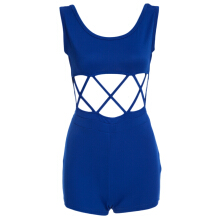 Casual Scoop Collar Sleeveless Hollow Out Patchwork Solid Color Short Jumpsuit for Women