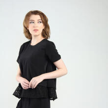 Rianty Basic Atasan Wanita Blouse Lisa - Black Black All Size