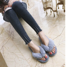 BESSKY Creative Women Casual Imitation Fur Plush House Spa Flip Flops Slippers_