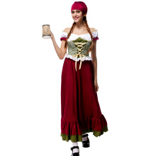 Halloween Costume Sexy Beer Girl Women's Lace up Long Dress With Headband