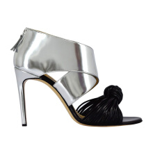 BIONDA CASTANA Erika Sandals Silver With Black Knot - Silver