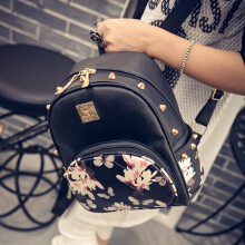 Causal High Quality Butterfly Printing PU Leather Travel Backpack For Woman