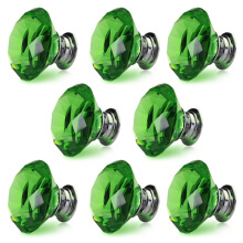 8 X LS-D3020 40MM Green Crystal Glass Door Knob + Screw