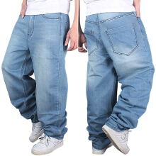 Men's Fashion Jeans Straight Plus size loose Denim Trouser HIPHOP Pants wash blue