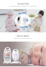 VB601 2.4G Wireless Baby Video Monitor with Night Vision Two-way Talk LCD Display(WHITE EU PLUG)