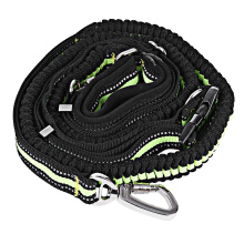Dual-handle Bungee Reflective Stitching Adjustable Waist Belt Dog Leash
