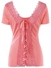 Scoop Neck Lace-up Laced Top M