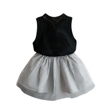 BESSKY Baby Kids Girl Clothing Sleeveless Blouse T-shirt+Stripe Short Skirt Set Outfits_