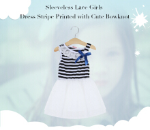 Sleeveless Lace Girls Dress Stripe Printed with Cute Bowknot (3Years Old)