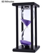 Hourglass Sand Timer 60 Minutes Wood Sand Timer(Black-Purple)