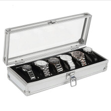 6 Grid Slots Jewelry Watches Display Storage Box Case Aluminium Watch Box