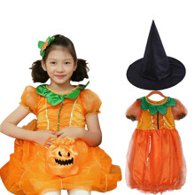 Cosplay Halloween Clothing Pumpkin Style Party Dress And Magic Hat Beading Sequins Girl Dress
