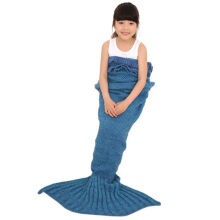 BESSKY Knitted Mermaid Tail Blanket Handmade Crochet Children Bed Wrap Sleeping Bag _