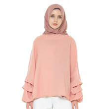 HAZELNUT Brigitte Blouse Long Gather Sleeves Peach [One Size]